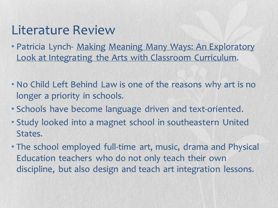 Classroom Design Literature Review ~ Art integration with special education children ppt