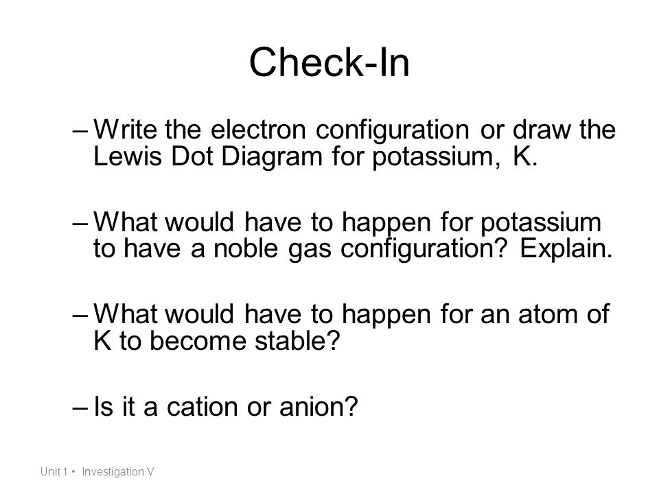 Noble gas envy ions ppt video online download check in write the electron configuration or draw the lewis dot diagram for potassium ccuart Images
