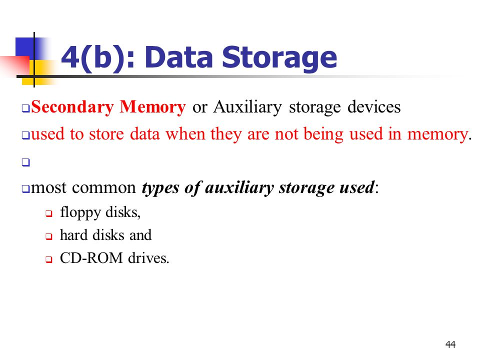 4 B Data Storage Secondary Memory Or Auxiliary Devices