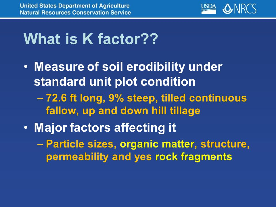In the maryland soils database ppt video online download for Soil k factor