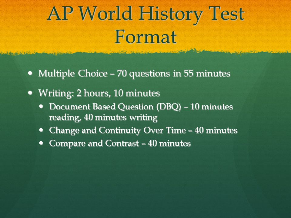 possible ap world history essay questions 2013 In fact, there actually used to be three essays on the ap world history test—in addition to the dbq, there was a change over time essay and a comparison essay now, there's just one long essay be sure to compare older questions with the most up-to-date examples from the most current ap course and exam description.