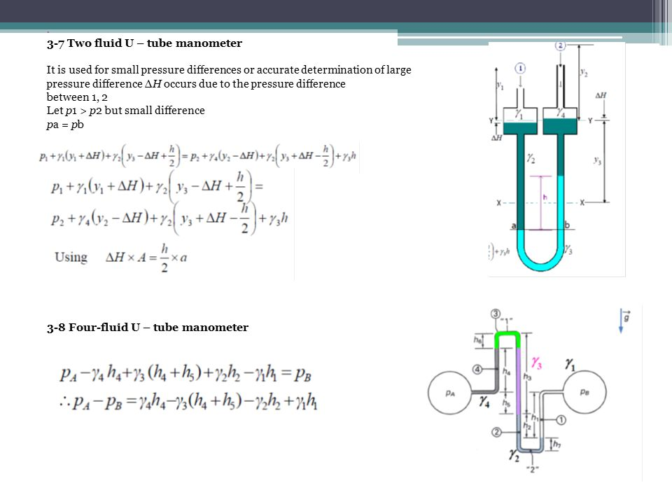 u tube manometer equation. 3-7 two fluid u \u2013 tube manometer equation