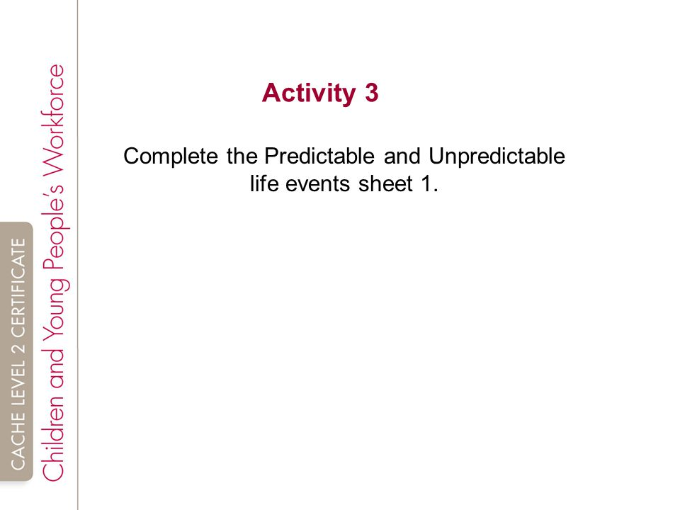 unpredictable life events P3 explain the influences of two predictable and two unpredictable major life events on the development of an individual task 2 b your editor at the magazine has now asked you to research the life events that have influenced the development of your celebrity.