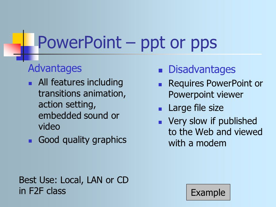 advantage of using powerpoint presentation Choosing the best presentation software is a big decision your presentation needs to look good, and to make it look good you need the right tool the presentation software you choose makes a.