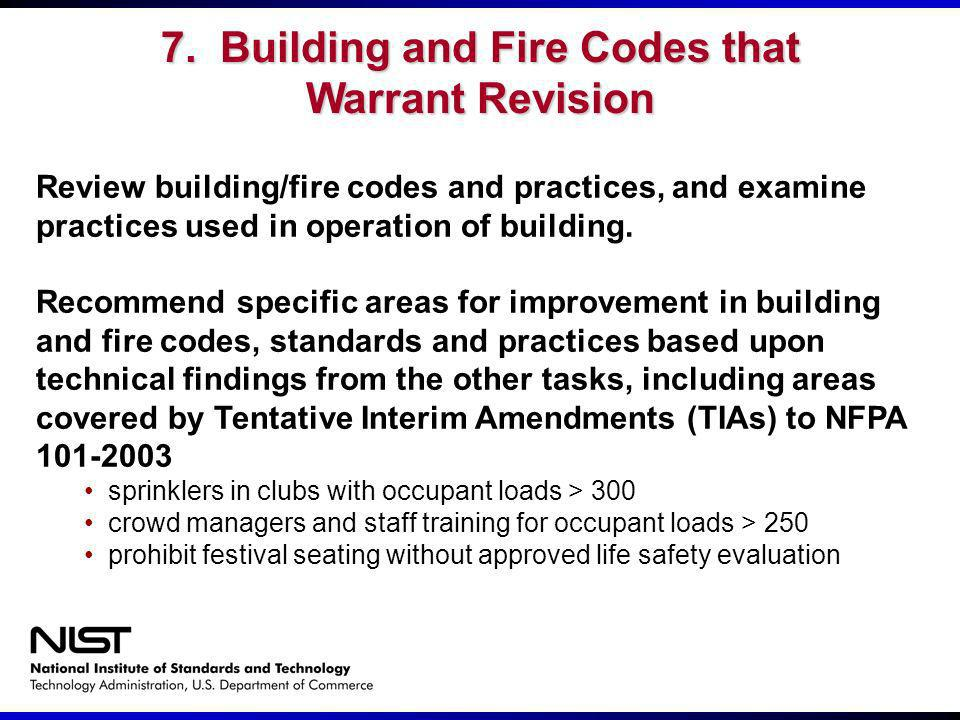 7. Building and Fire Codes that Warrant Revision