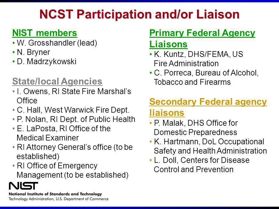 NCST Participation and/or Liaison