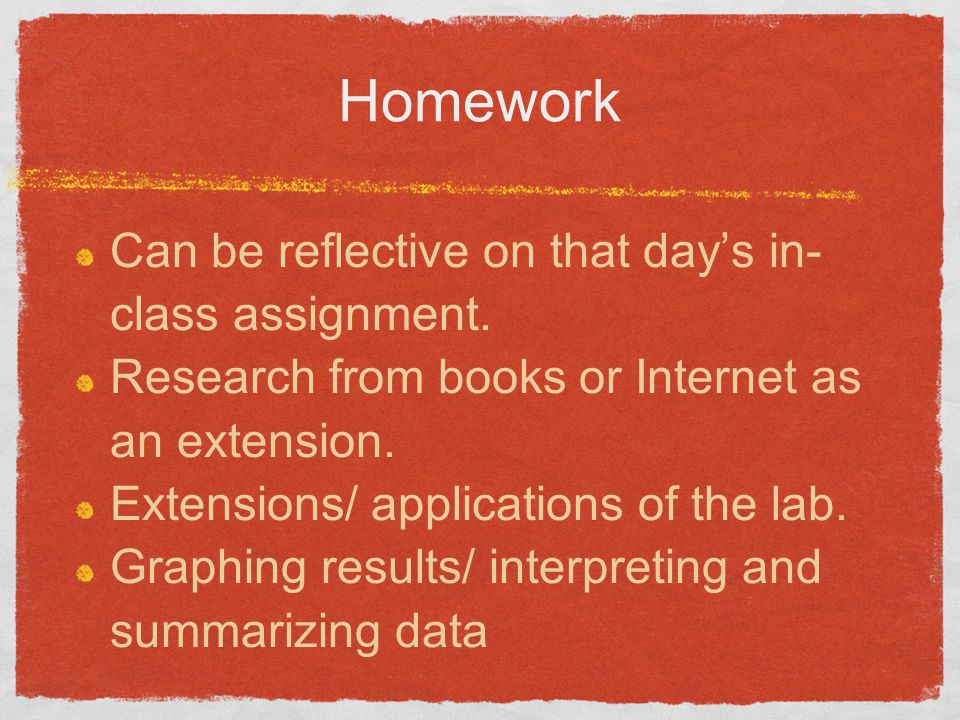 Homework Can be reflective on that day's in-class assignment.