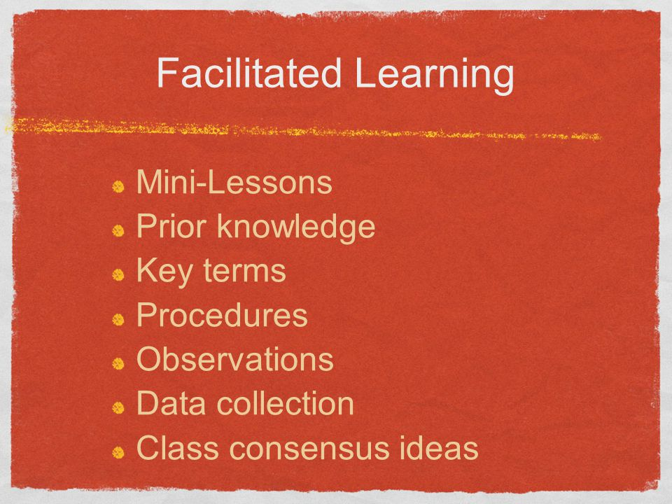 Facilitated Learning Mini-Lessons Prior knowledge Key terms Procedures