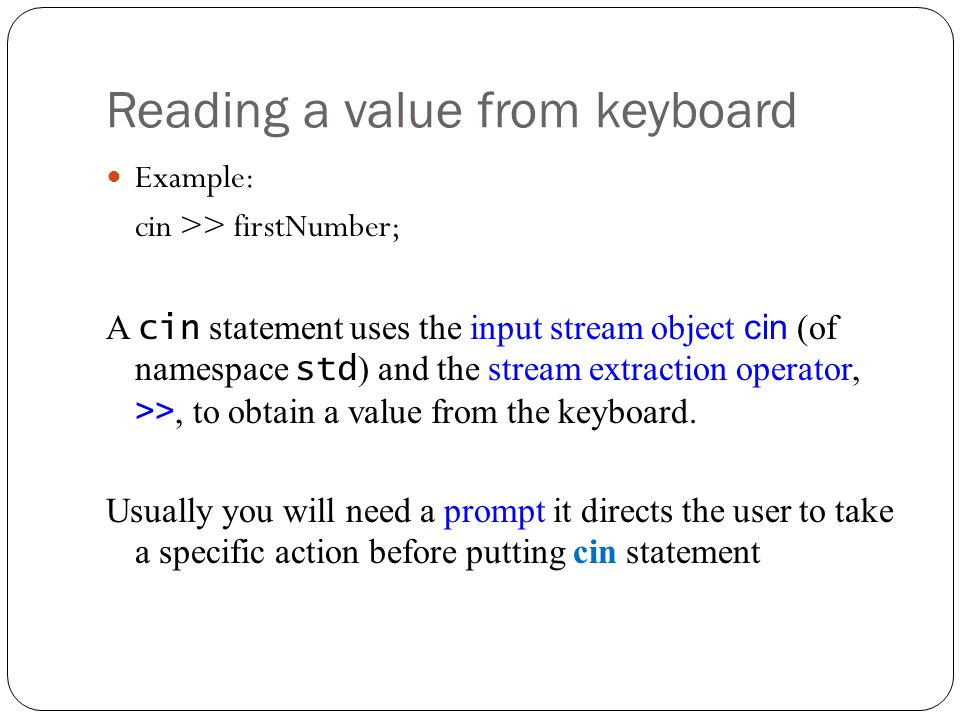 Reading a value from keyboard