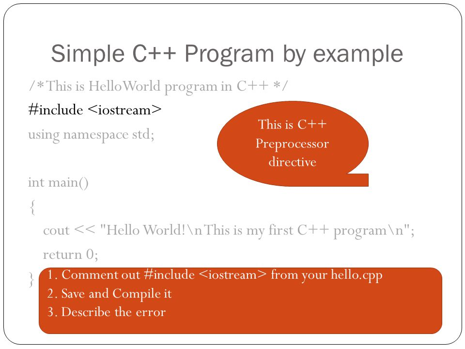 Simple C++ Program by example
