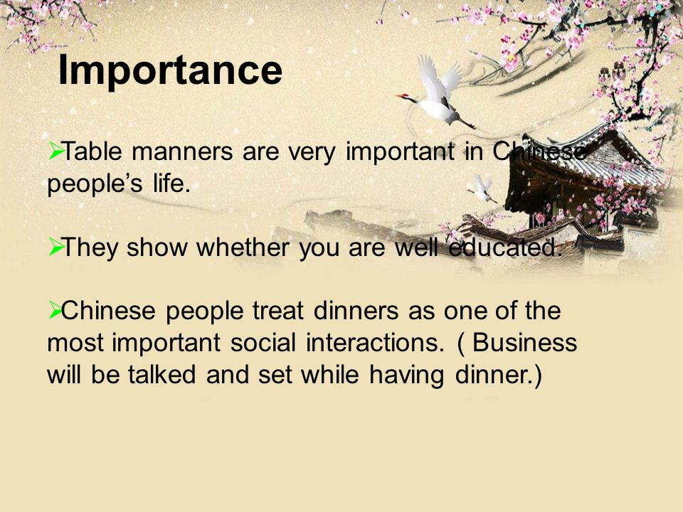 Importance Table Manners Are Very Important In Chinese Peoples Life