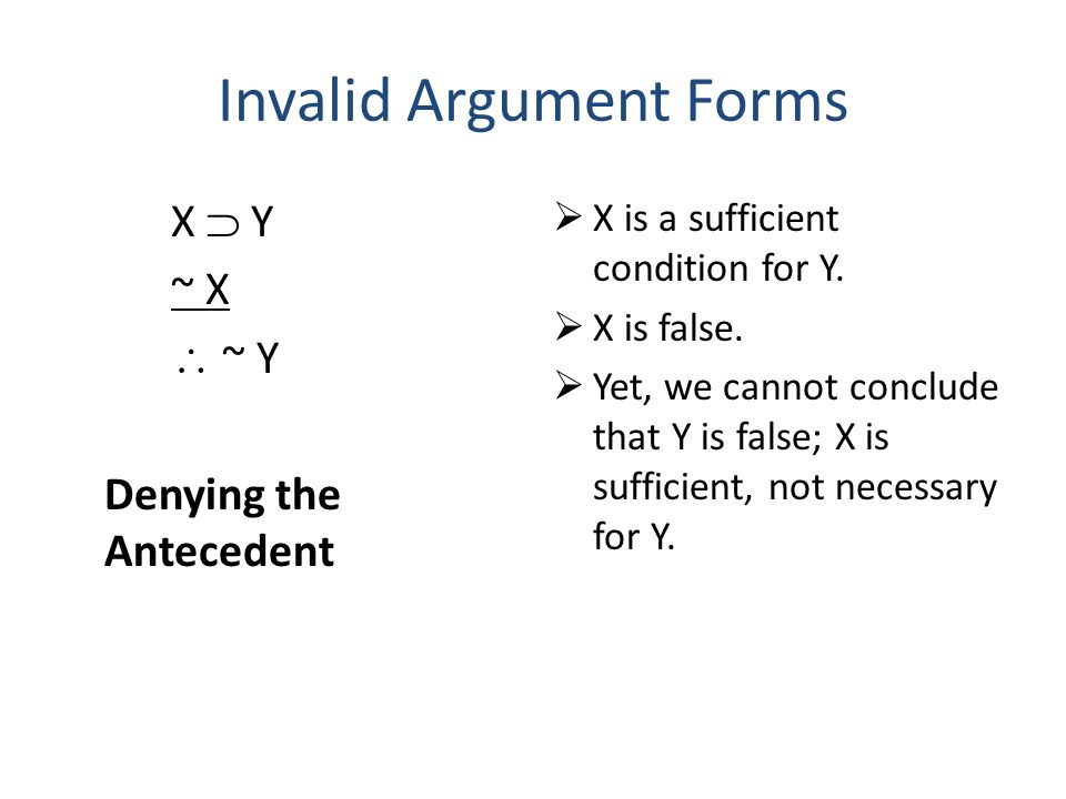 Invalid Argument Forms