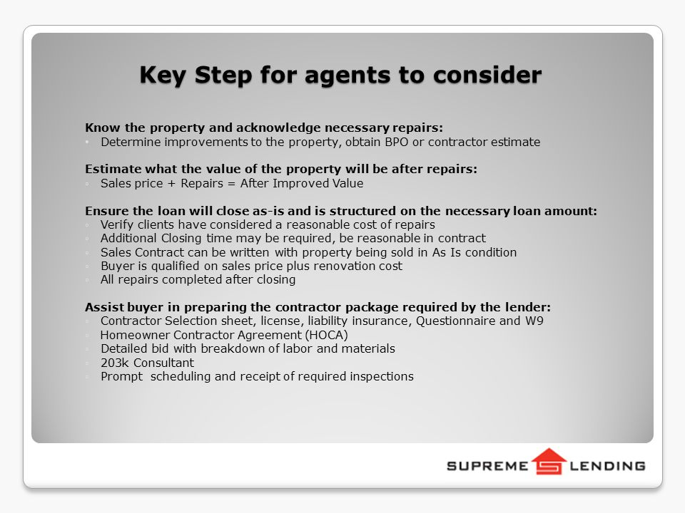 Welcome to full fha 203 k training ppt video online for Homeowner selection sheet