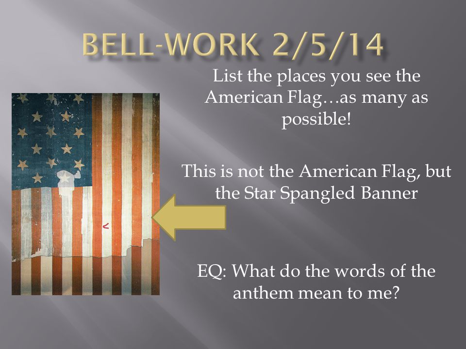 Bell Work 2514 List The Places You See The American Flagas Many