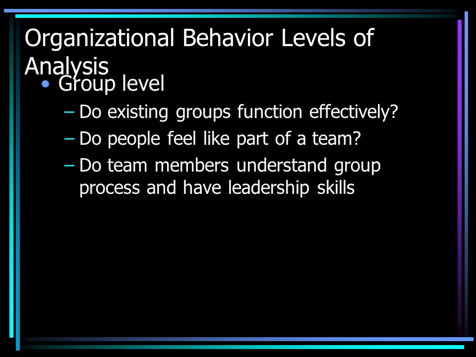 Organizational Behavior Levels of Analysis