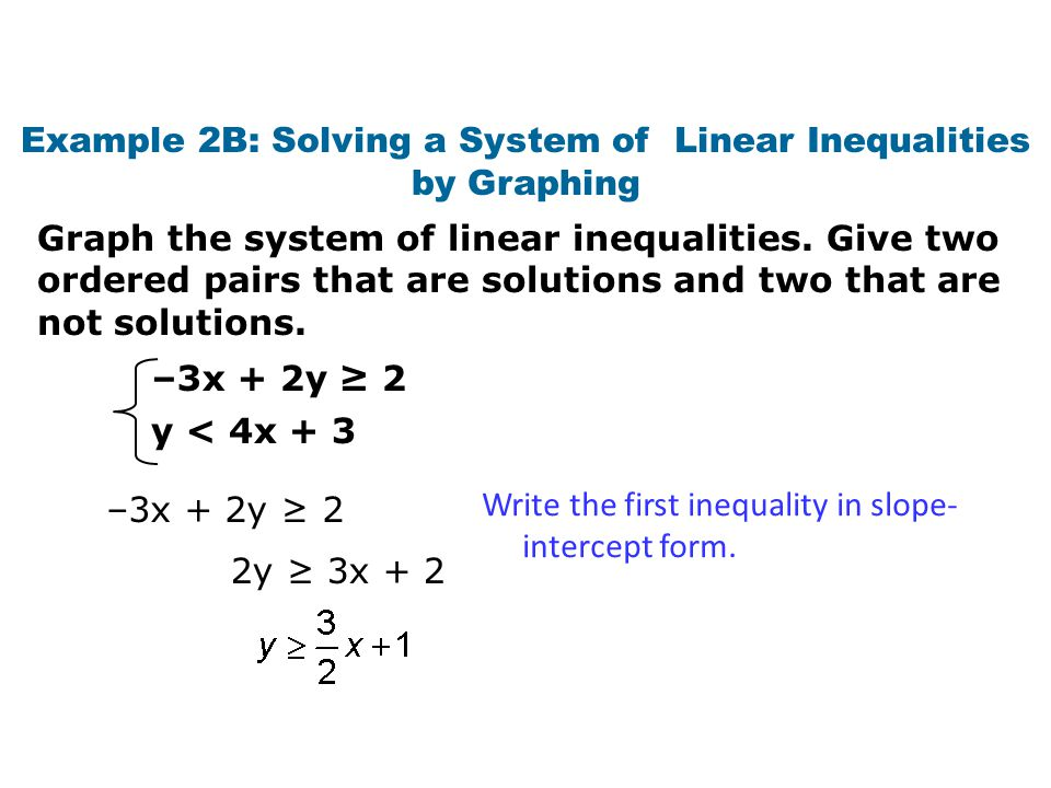 Write a linear inequality for the graph find