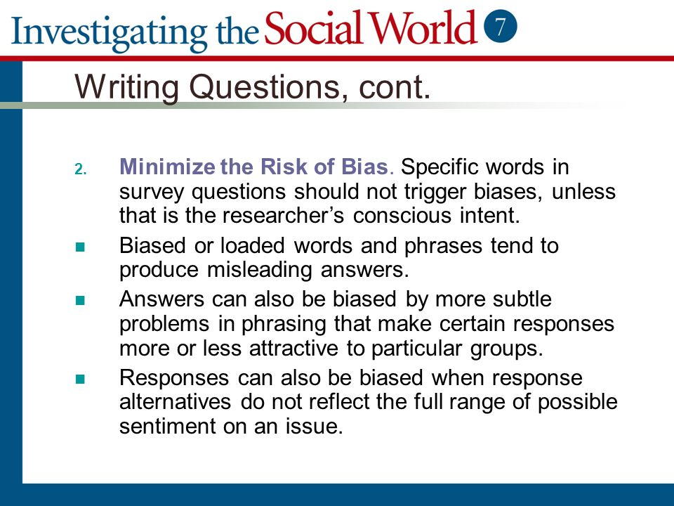 questions and answers on selection bias Item-selection bias, a subcategory of this bias, refers to the use of  such as a  willingness to risk guessing the right answer or questions that.