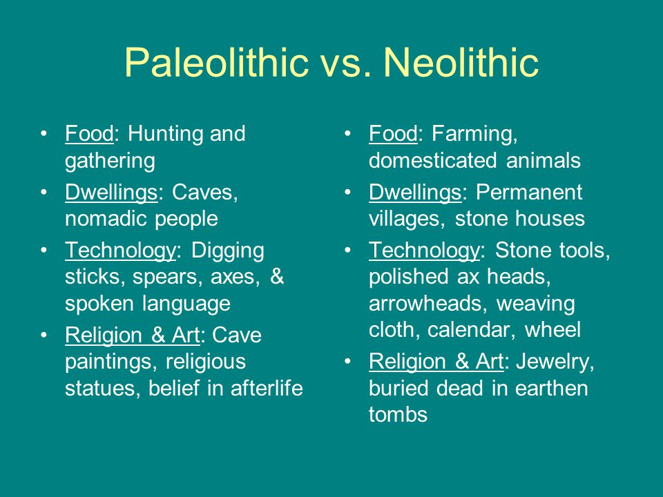 paleolithic and neolithic The paleolithic: a nomadic life humans make art we do this for many reasons and with whatever technologies are available to us extremely old, non-representational.