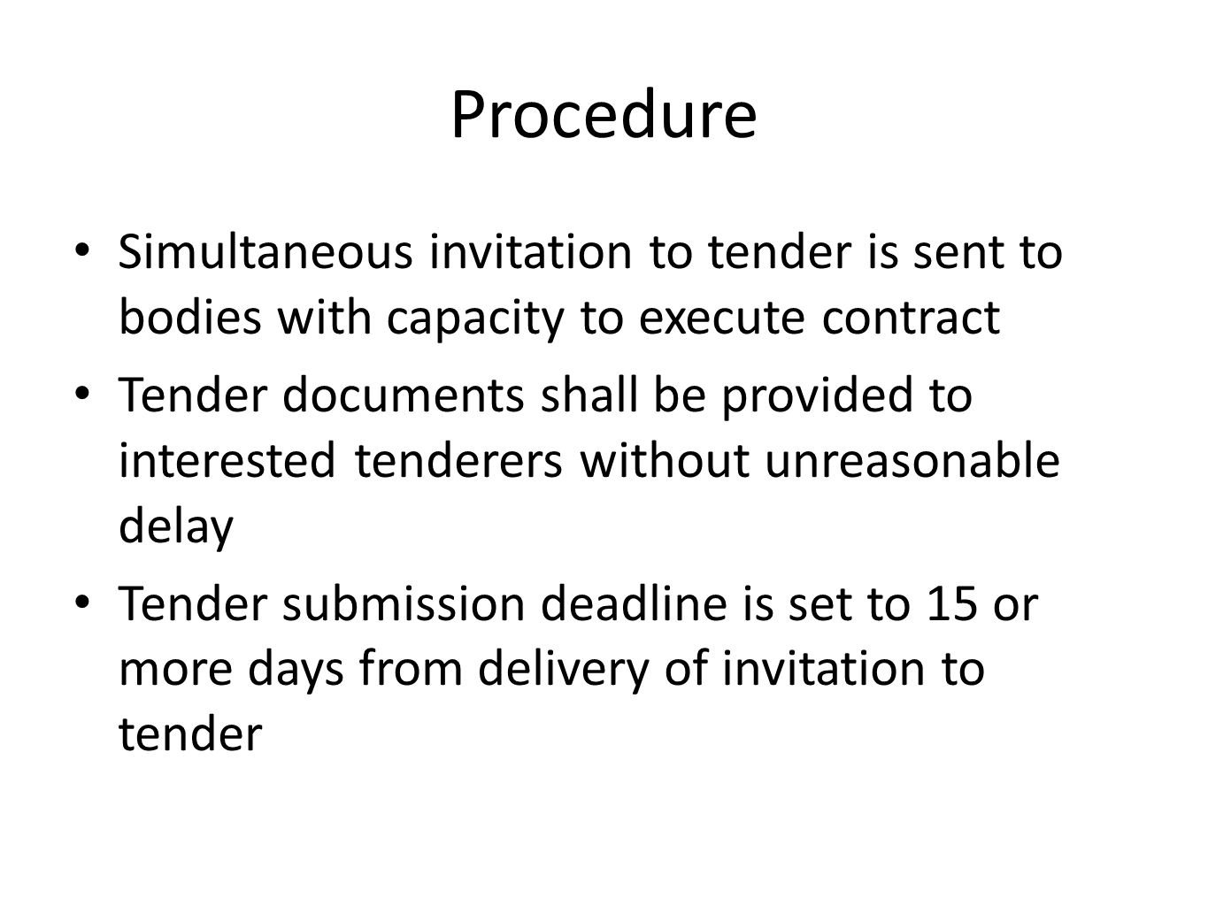 Civil society procurement monitor ppt download procedure simultaneous invitation to tender is sent to bodies with capacity to execute contract stopboris Gallery