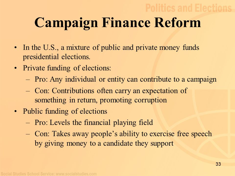 political campaign finance reform The political reform division, secretary of state, is located at 1500 - 11th street, room 495, sacramento, ca 95814, phone (916) 653-6224 read more about campaign finance and lobbying activities about political reform division.