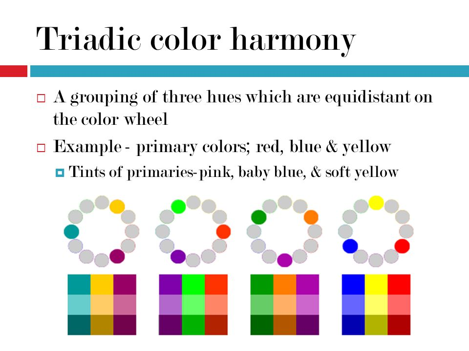 Triadic Color Harmony A Grouping Of Three Hues Which Are Equidistant On The Wheel