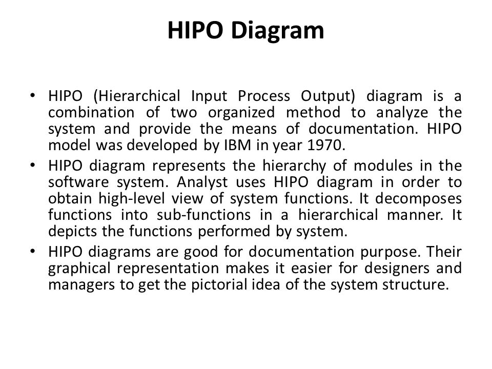 hipo chart Hipo template [international business machines corporation] on amazoncom free shipping on qualifying offers hipo for hierarchical input process output is a popular 1970s systems analysis design aid and documentation technique for representing the modules of a system as a hierarchy and for documenting each module.