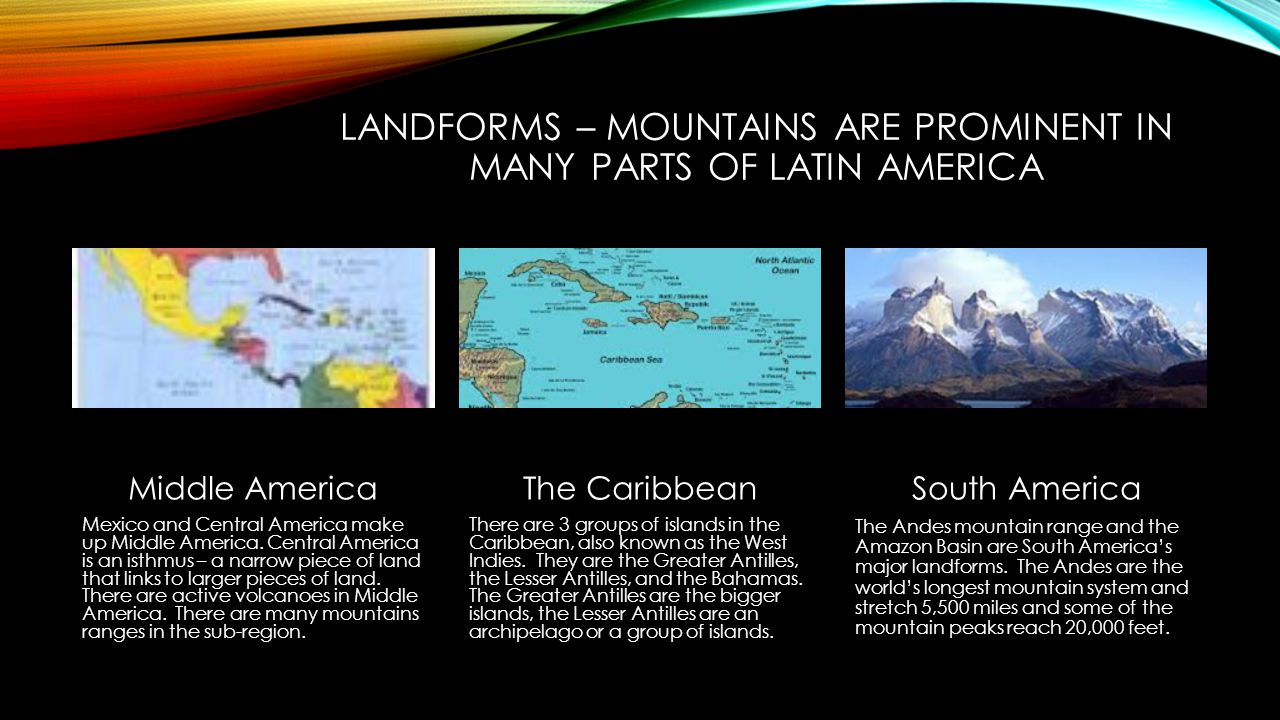 Landforms – mountains are prominent in many parts of latin america