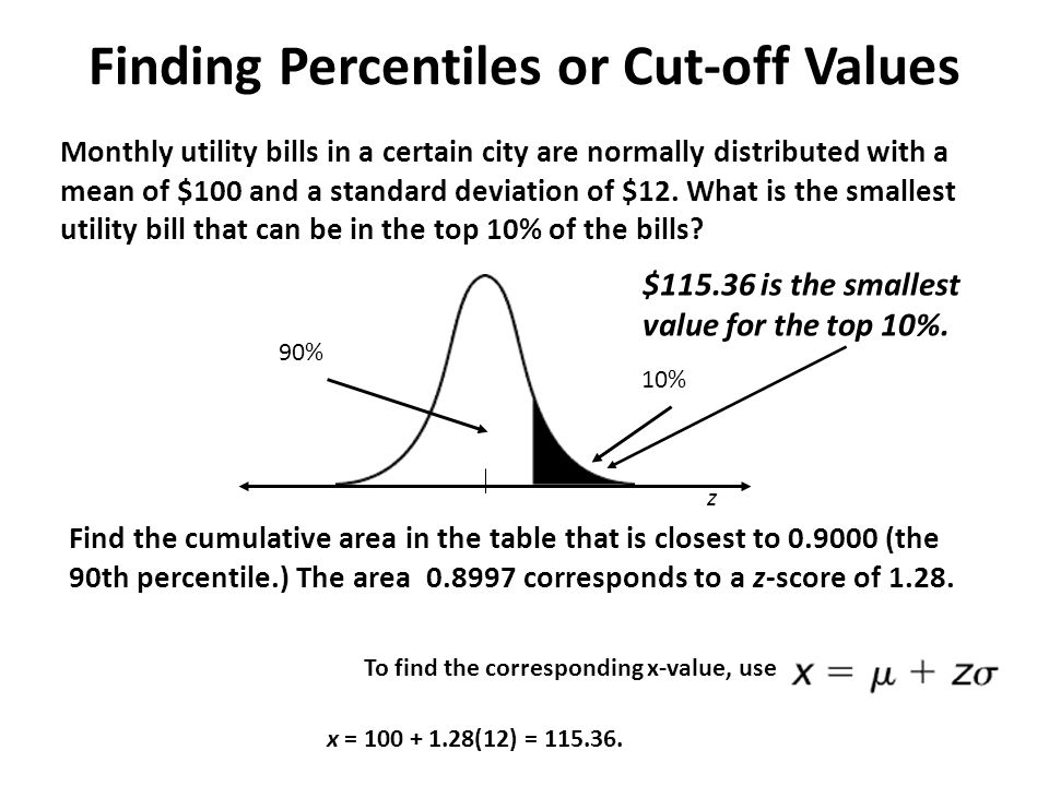 Section 54 normal distributions finding values ppt video finding percentiles or cut off values ccuart Image collections