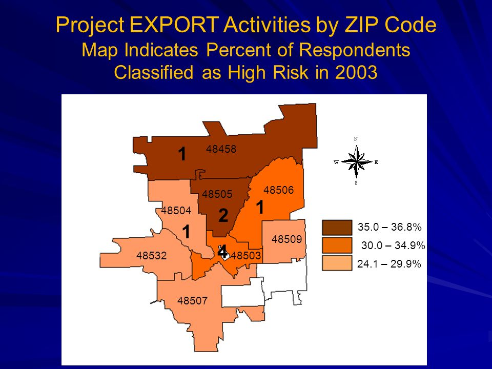 Project EXPORT Activities by ZIP Code Map Indicates Percent of Respondents Classified as High Risk in 2003