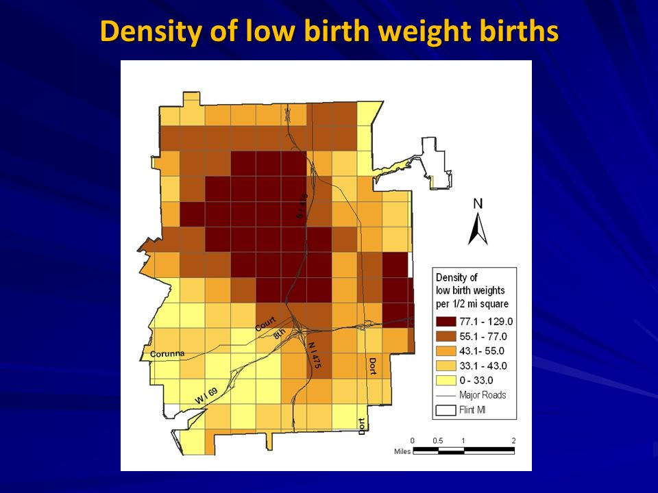 Density of low birth weight births