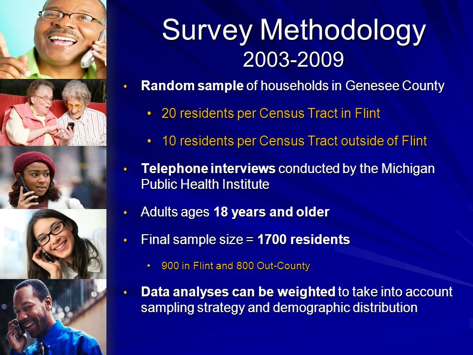 Survey Methodology 2003-2009 Random sample of households in Genesee County. 20 residents per Census Tract in Flint.