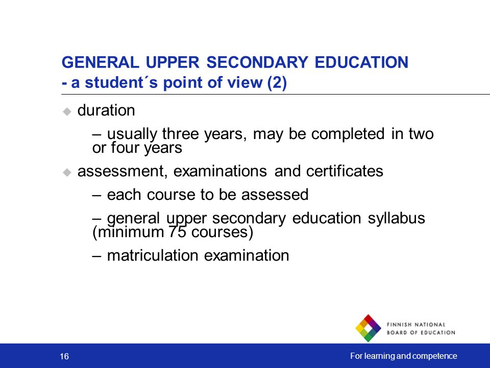 GENERAL UPPER SECONDARY EDUCATION - a student´s point of view (2)