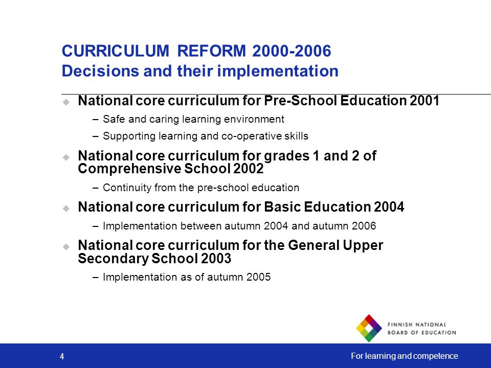 CURRICULUM REFORM Decisions and their implementation