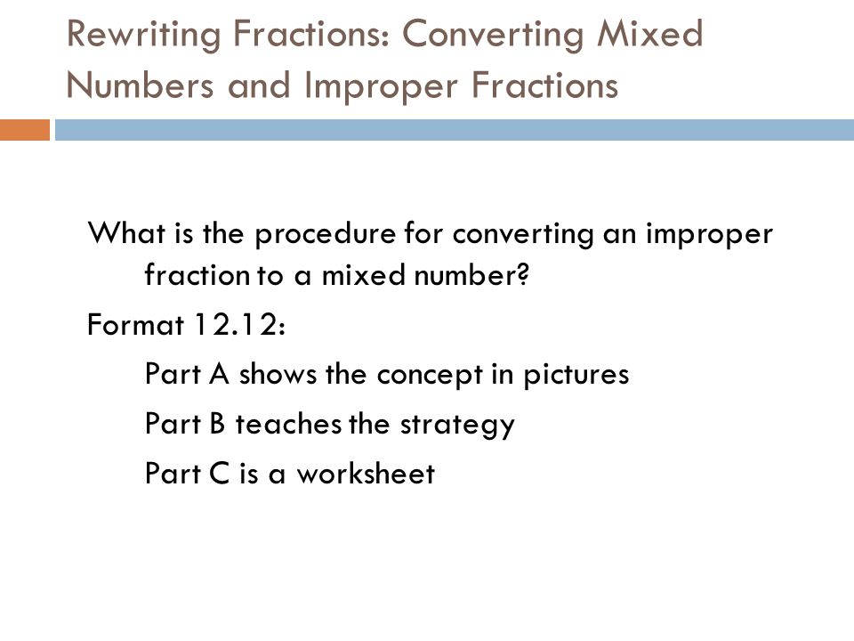 Fractions ppt download – Convert Improper Fractions to Mixed Numbers Worksheet