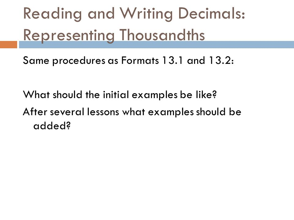 Read write and order decimals to thousandths