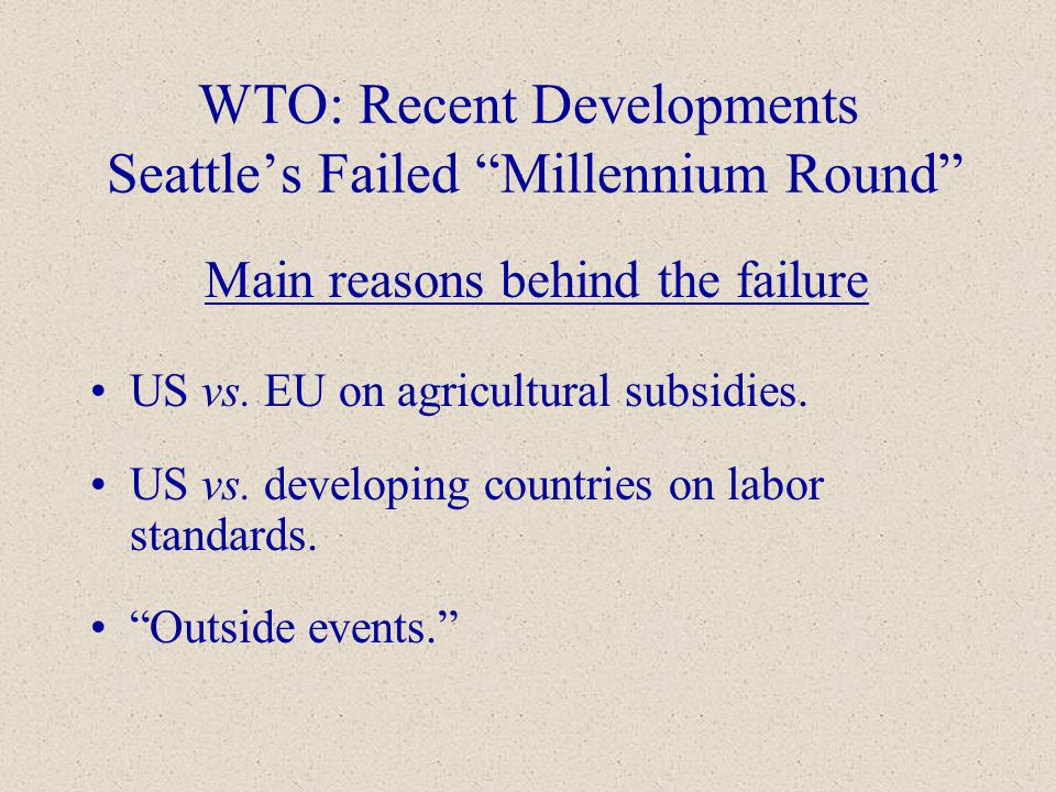wto enivronmental failures However, the negotiations have so far failed to yield any tangible result this  paper examines the adequacy of the environmental exceptions to wto rules.