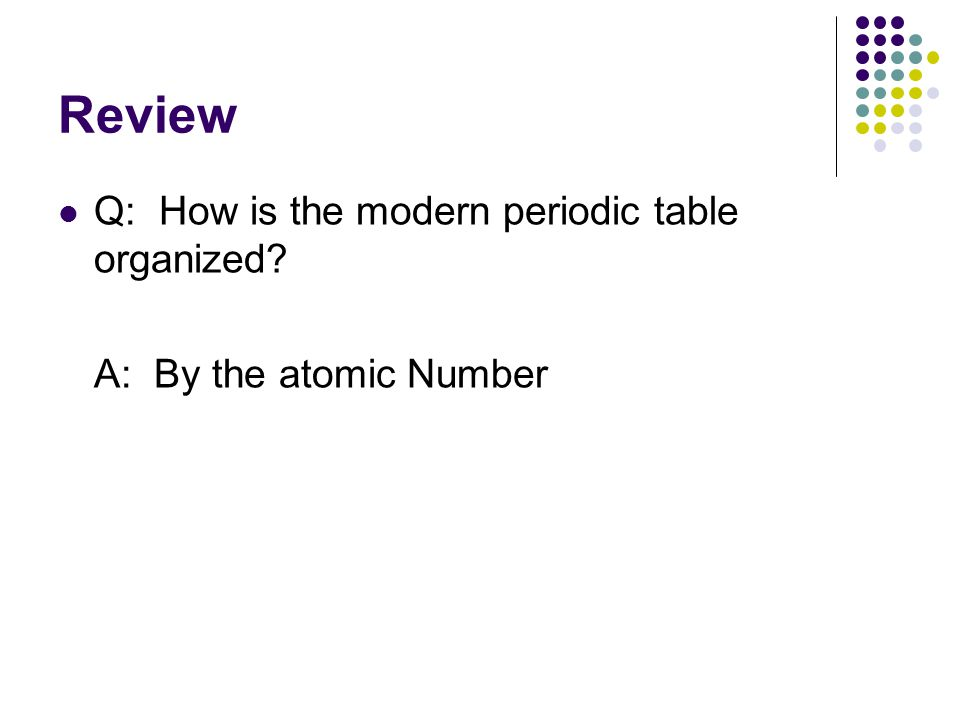Atomic structure the periodic table ppt download review q how is the modern periodic table organized urtaz Gallery