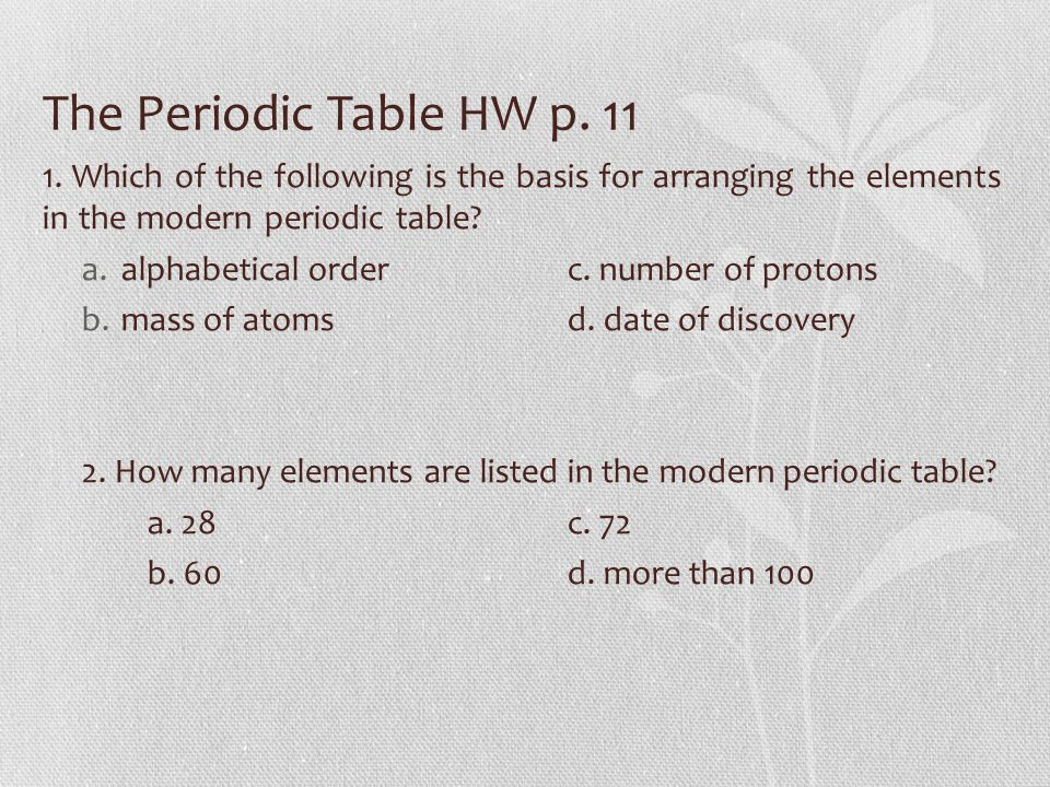 Tcap review lesson 13 notes voc foldable v ppt download the periodic table hw p 11 1 which of the following is the basis urtaz Image collections