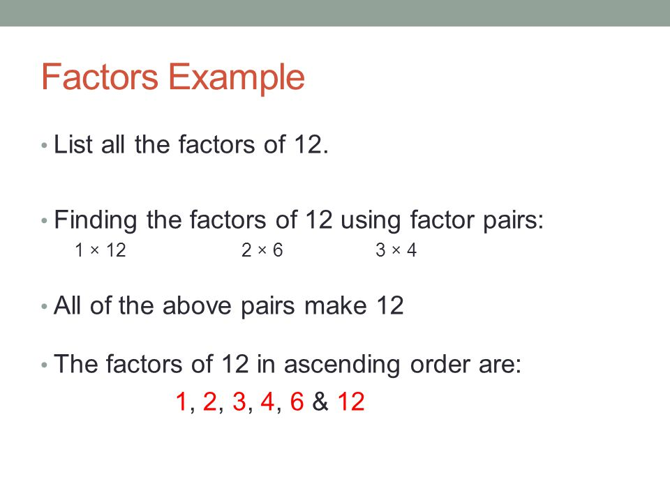 how to find number of factors