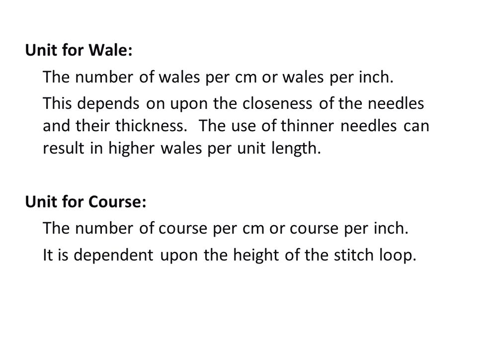 Knitting Number Of Stitches Per Inch : KNITTING AND NONWOVEN TECH. - ppt video online download