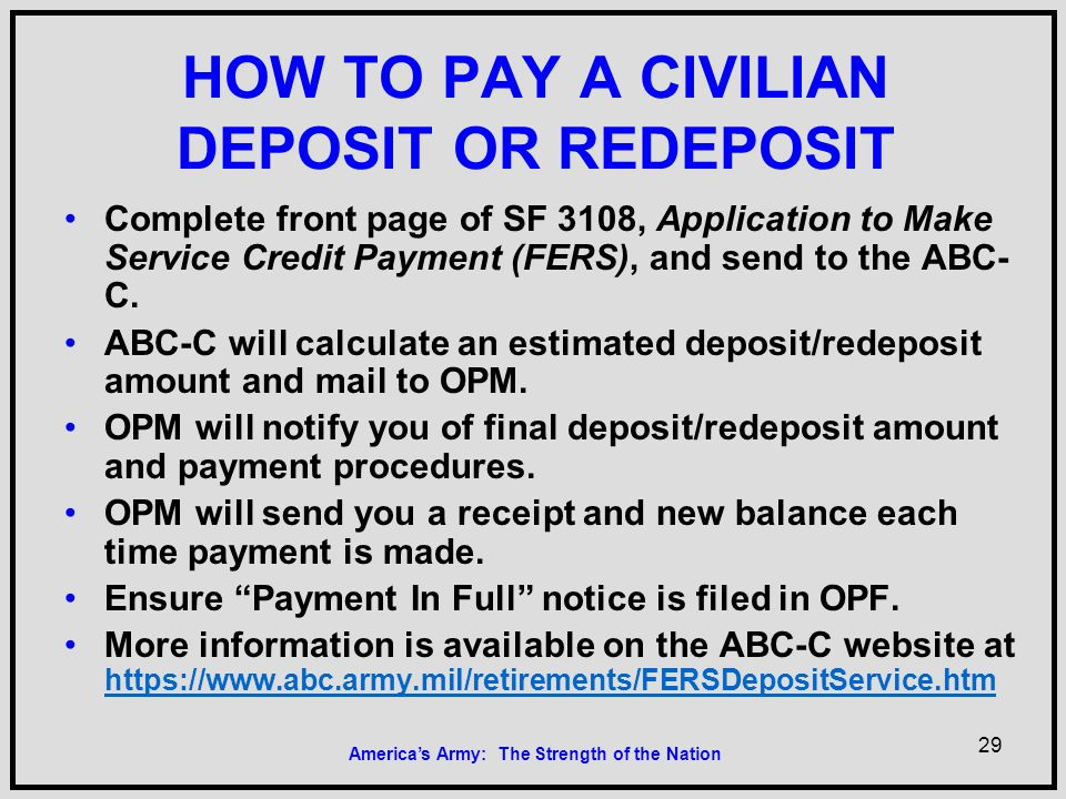 Military Service Military Service Deposit