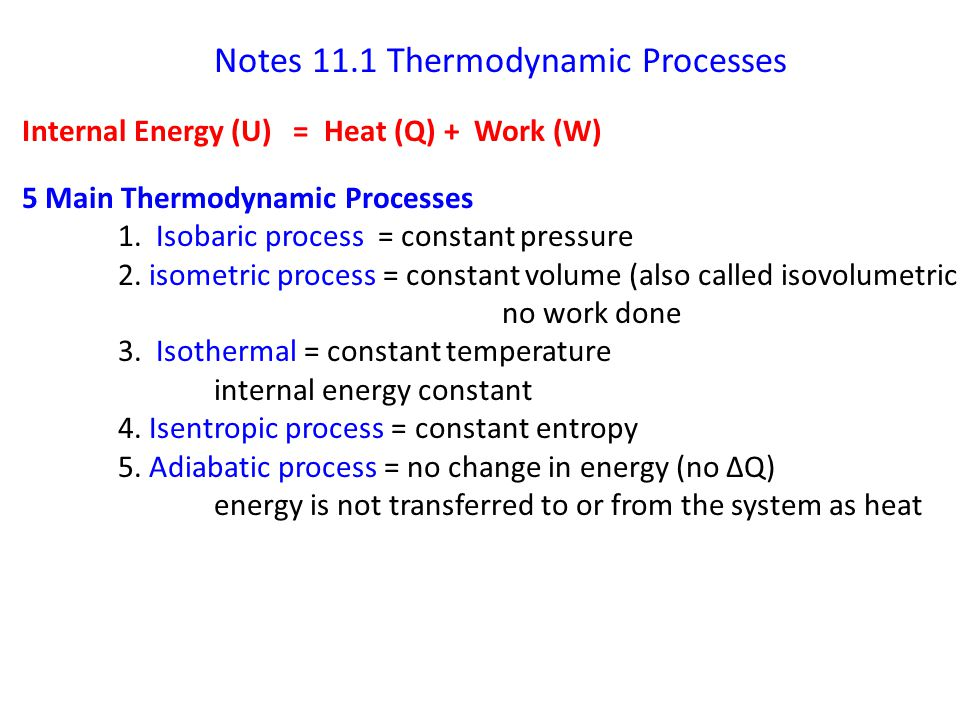 Notes 11.1 Thermodynamic Processes