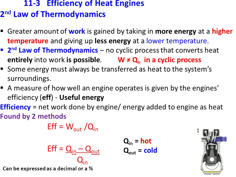 11-3 Efficiency of Heat Engines 2nd Law of Thermodynamics