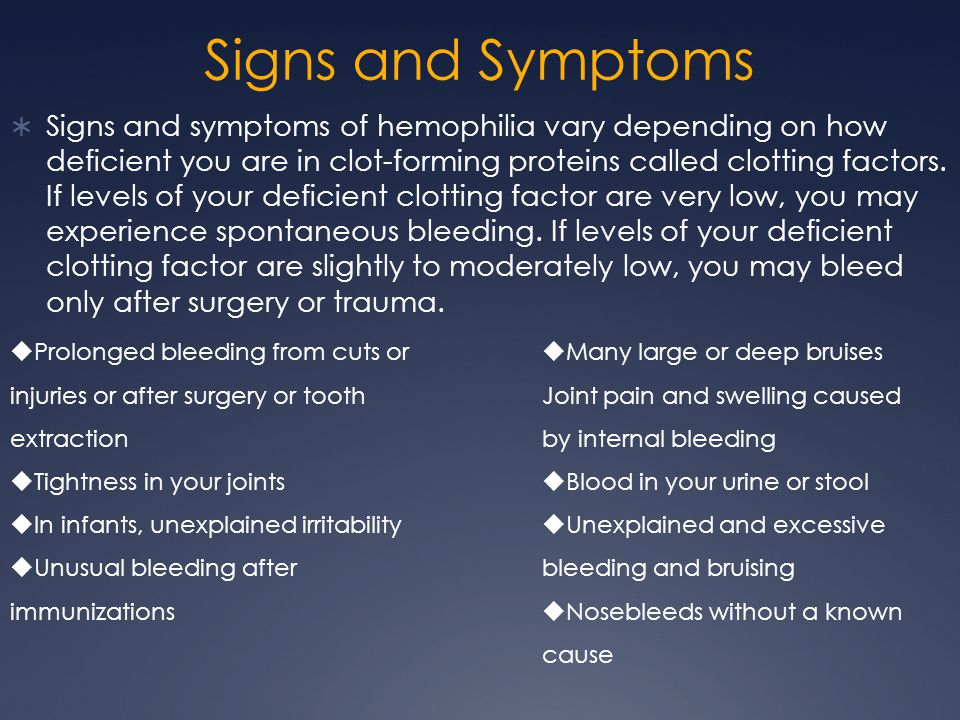 the causes symptoms and management of hemophilia Hemophilia a or b is an inherited bleeding disorder that causes abnormal and  sometimes spontaneous bleeding get the definition, causes, and treatment.