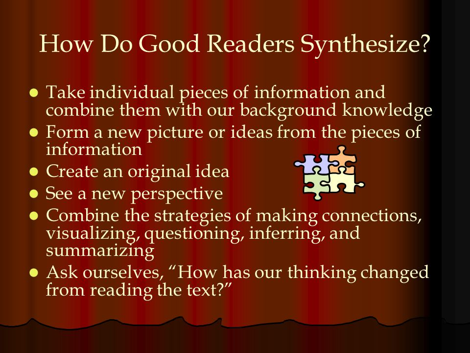 How Do Good Readers Synthesize