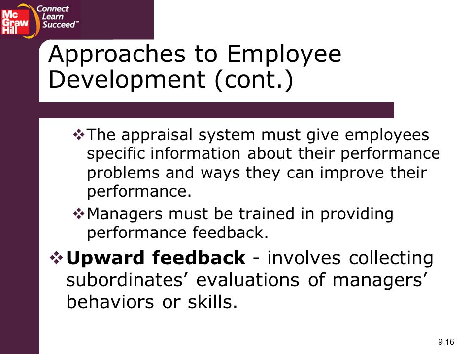Approaches to Employee Development (cont.)