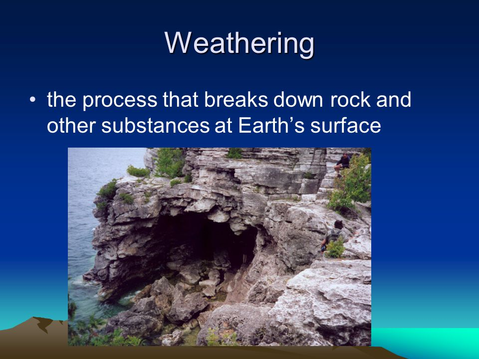 Weathering the process that breaks down rock and other substances at Earth's surface