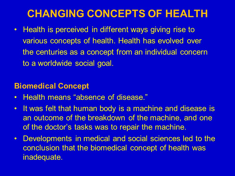 different concepts of health 1 epidemiology key terms and core concepts epidemiology: the study of the distribution and determinants of health-related states in specified populations, and the.