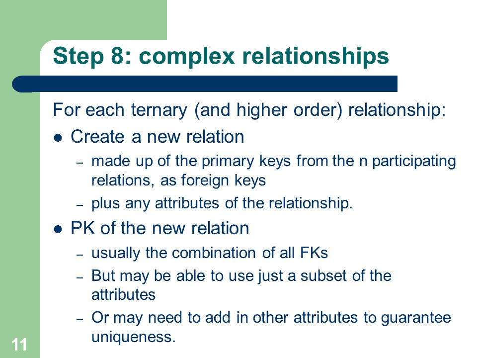 Step 8: complex relationships