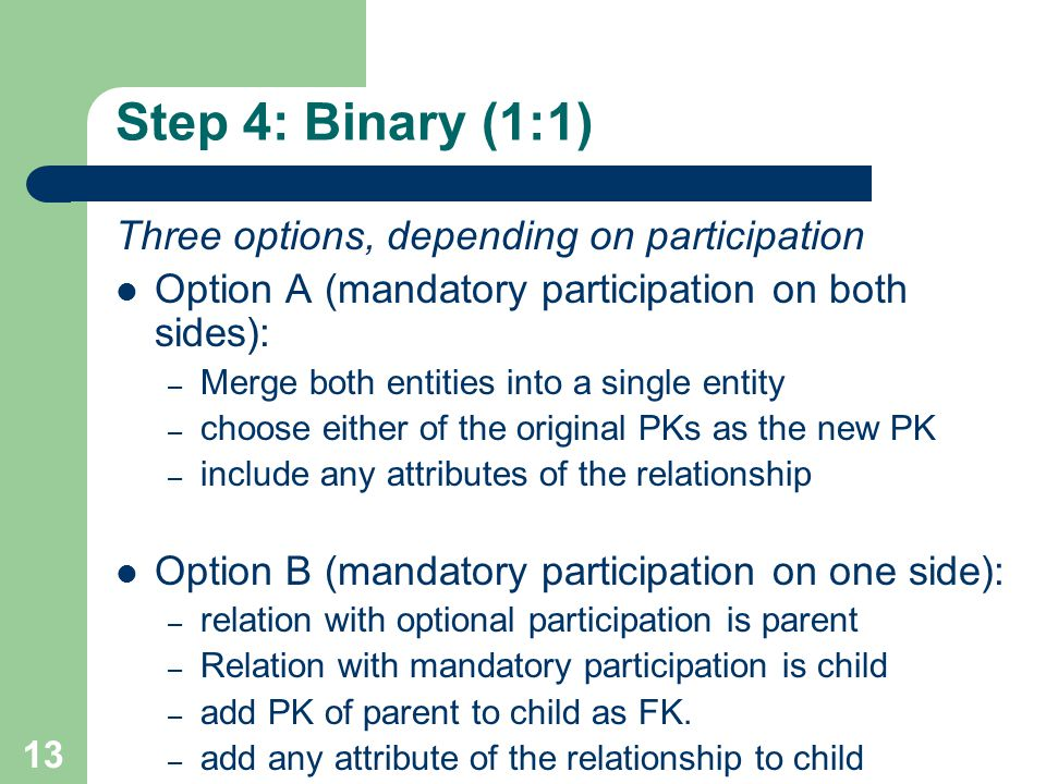 Step 4: Binary (1:1) Three options, depending on participation
